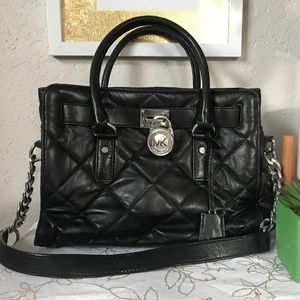 Michael Kors Black Purse With Silver Chain